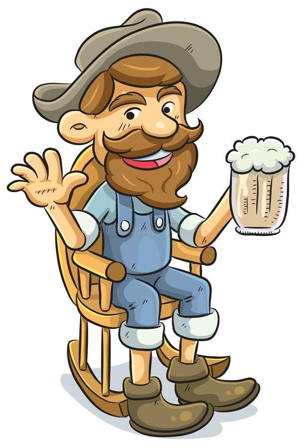 Vieil homme buvant d'une bière illustration libre de droits