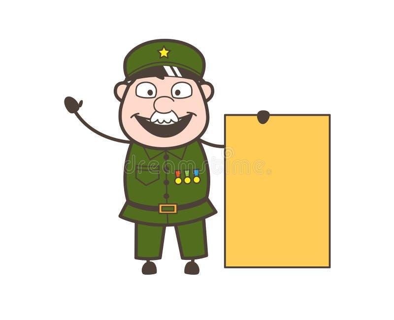 Vieil homme d'armée montrant une illustration vide de vecteur de bannière d'annonce illustration de vecteur