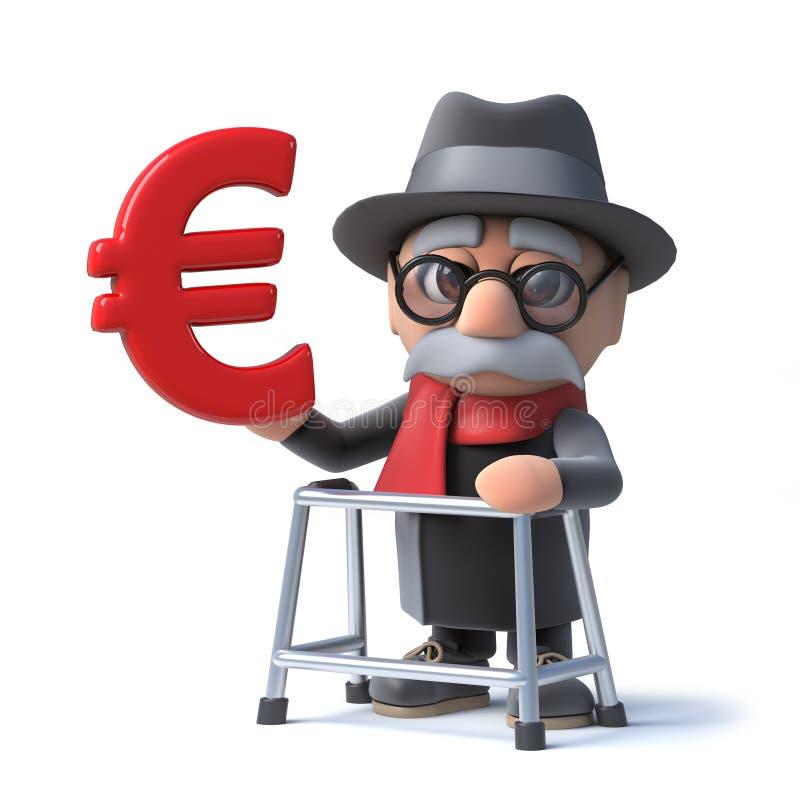 vieil homme de la bande dessinée 3d drôle avec le cadre de marche tenant un euro symbole monétaire illustration stock