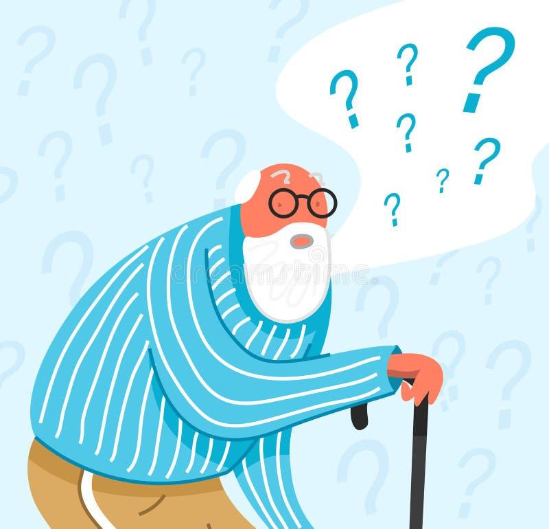 Vieil homme de pensée dans les vêtements de nuit Les personnes réfléchies comprennent le problème Le grand-père songeur trouvent  illustration stock