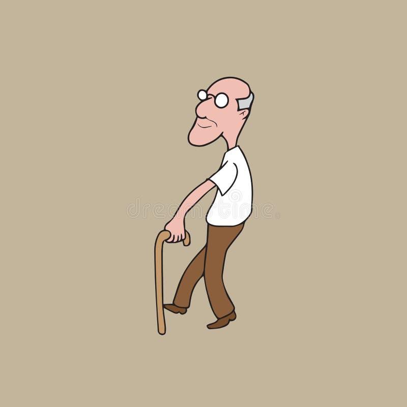 Vieil homme de personnes avec la canne illustration stock