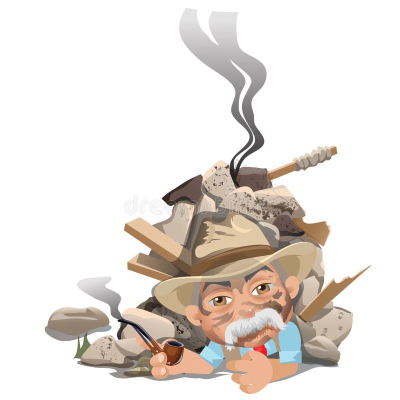 Vieil homme de tabagisme dans le chapeau sous la blocaille de la maison illustration de vecteur