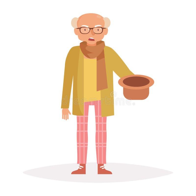 Vieil homme demandant l'argent Vecto illustration stock
