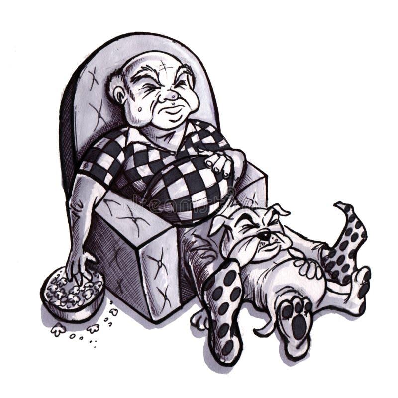 Vieil homme et crabot illustration de vecteur