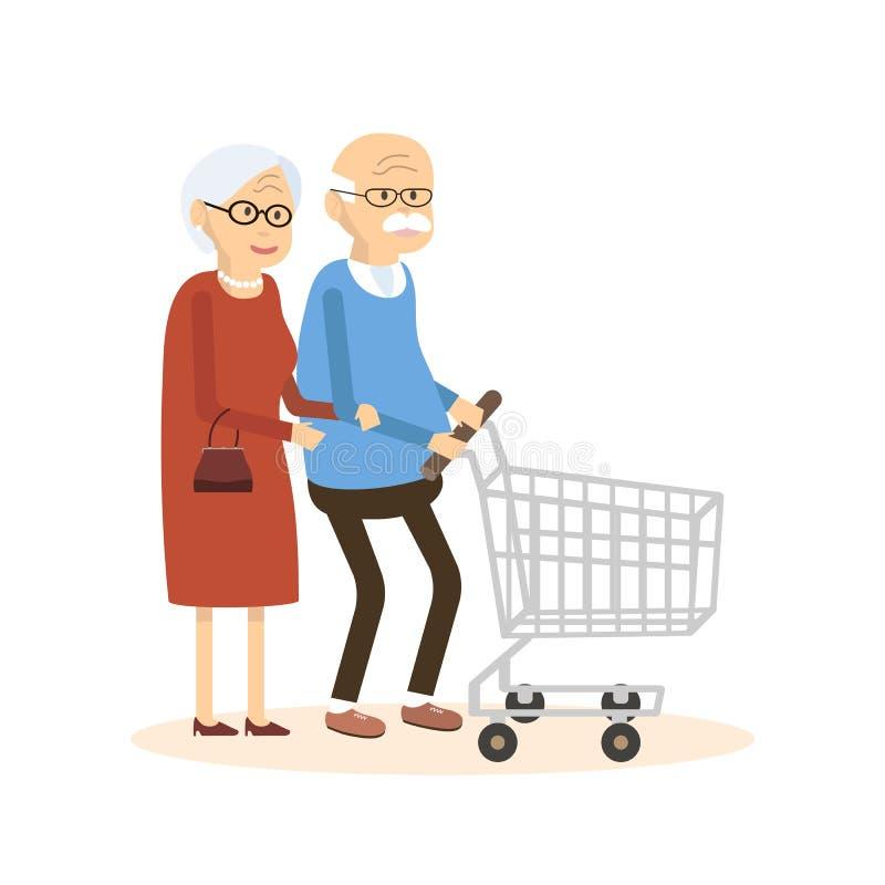 Vieil homme et femme avec le caddie illustration stock