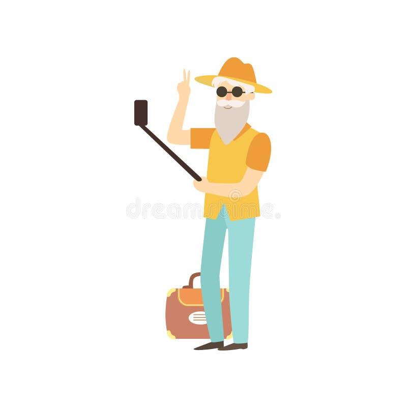 Vieil homme faisant Selfie avec un bâton illustration stock