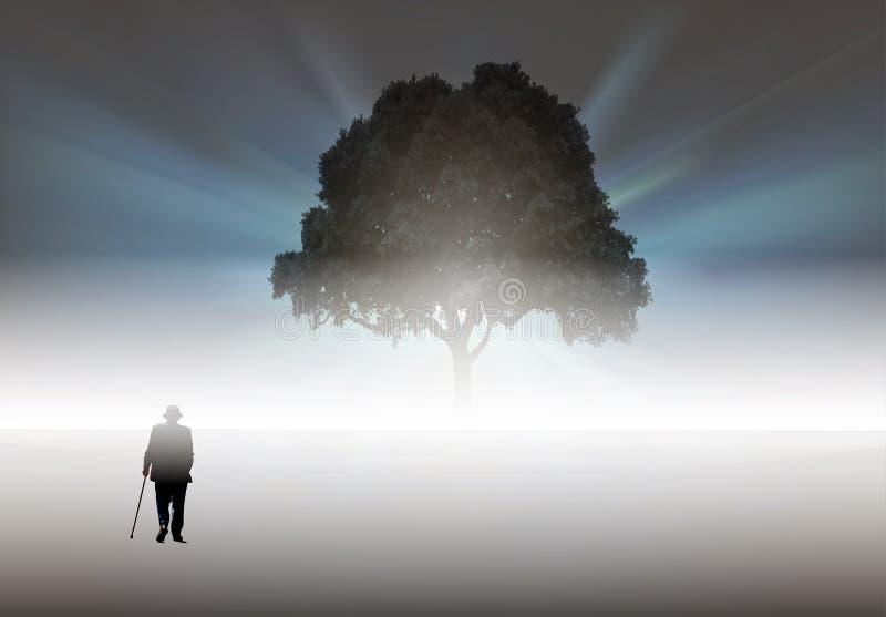 Vieil homme marchant à un grand arbre, solitude, concept de solitude illustration libre de droits