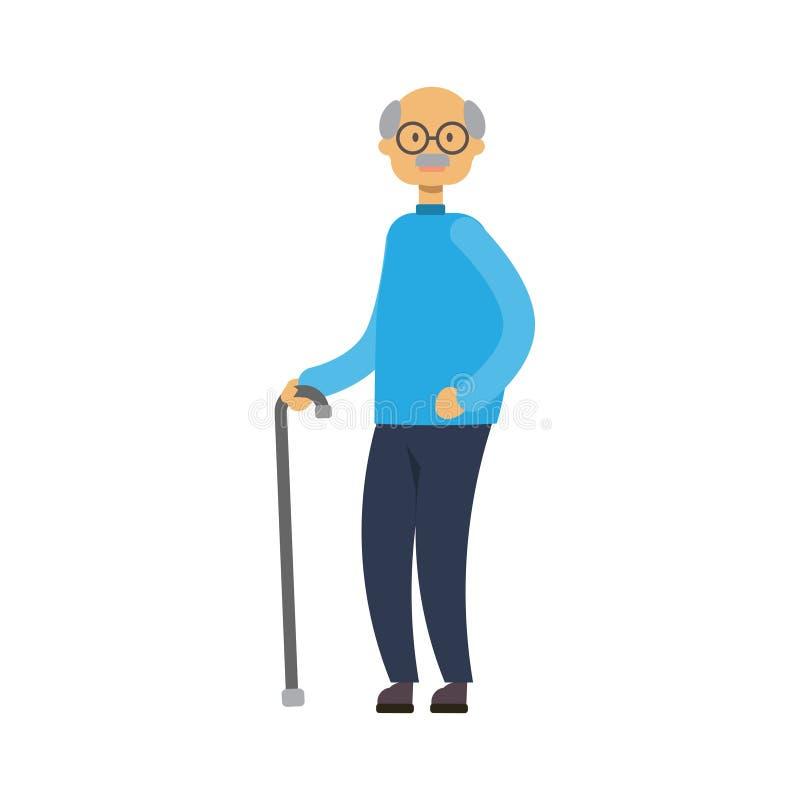 Vieil homme marchant avec le bâton grand-père intégral sur le grand-papa mignon de fond blanc, arbre de genre concept de la famil illustration de vecteur