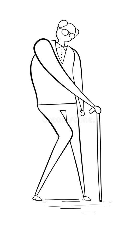Vieil homme marchant avec son bâton de marche, illustration tirée par la main de vecteur Contours noirs, blancs illustration stock