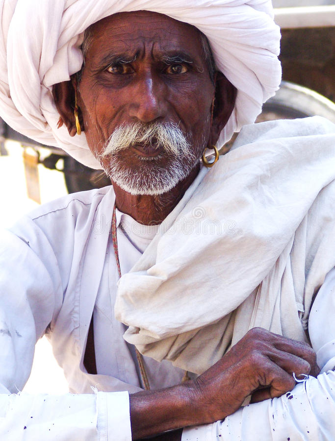 Vieil homme, Samode, Ràjasthàn, Inde photo libre de droits
