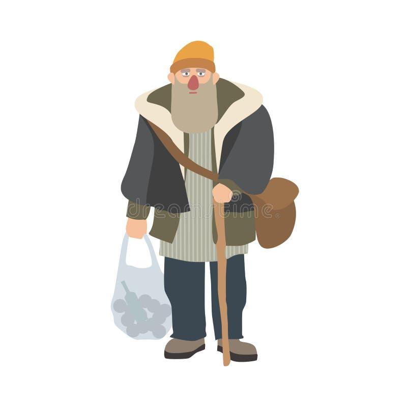 Vieil homme sans abri avec la barbe et canne tenant et tenant le sachet en plastique Le bon à rien, le vagabond ou le clochard pl illustration libre de droits