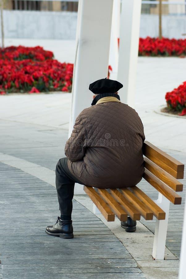 Vieil homme sur le banc de stationnement image libre de droits