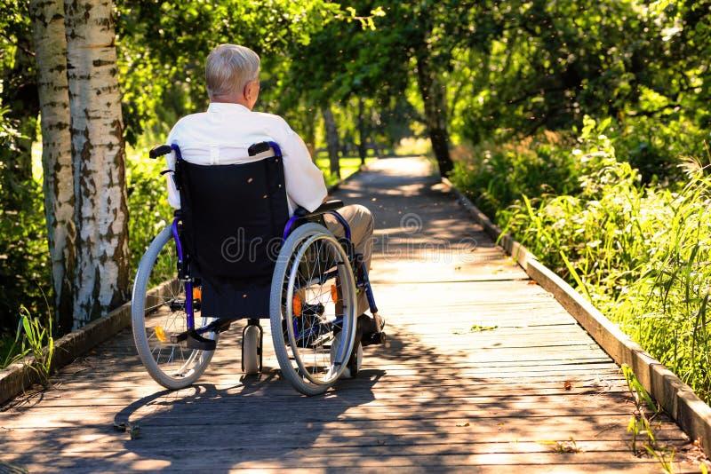 Vieil homme sur le fauteuil roulant sur le chemin en parc photos libres de droits