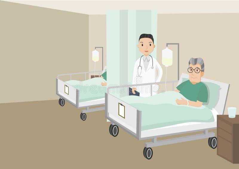 Vieil homme triste se situant dans un lit d'hôpital illustration stock