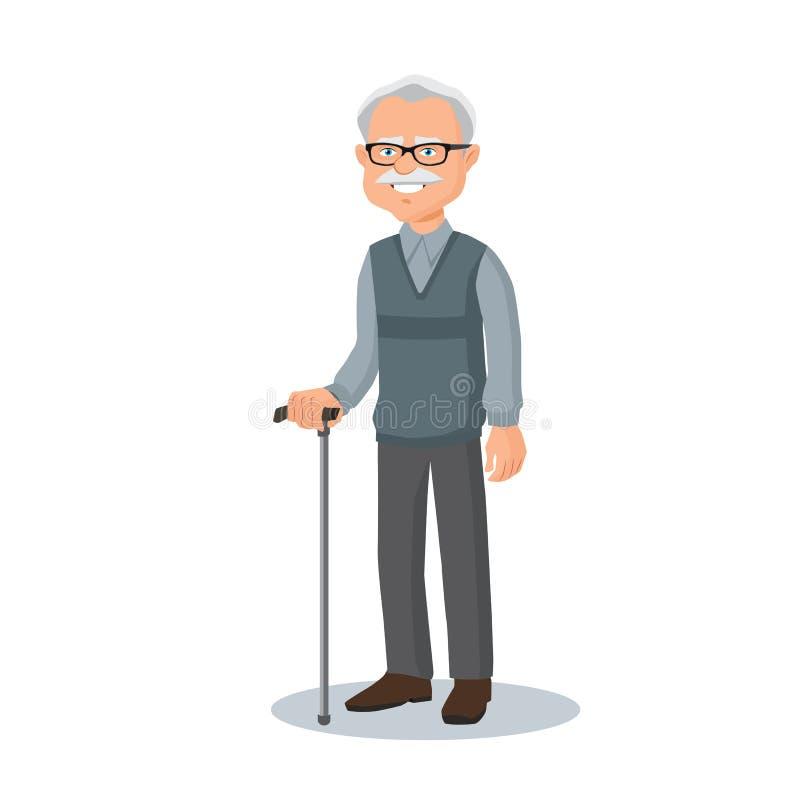 Vieil homme, verres de port de grand-père avec un bâton illustration stock