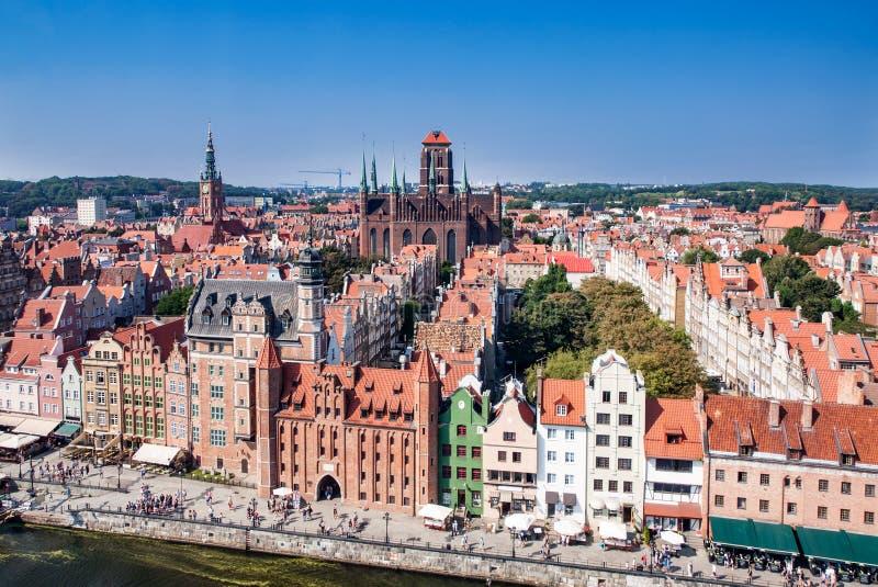 Vieil horizon de ville de Danzig, Pologne photos stock