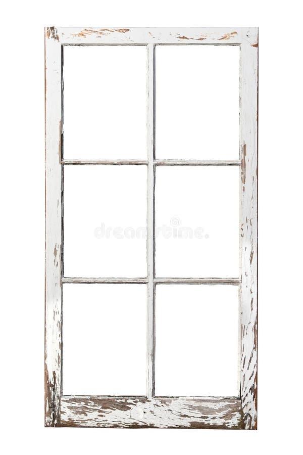 Vieil hublot de 6 carreaux sur le blanc photographie stock