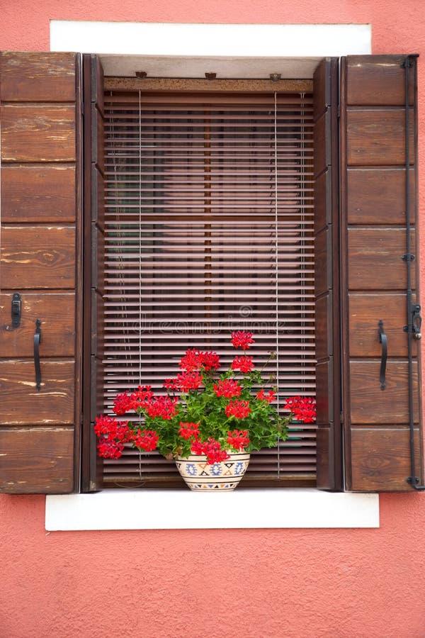 Vieil hublot européen/avec des fleurs et des obturateurs image libre de droits