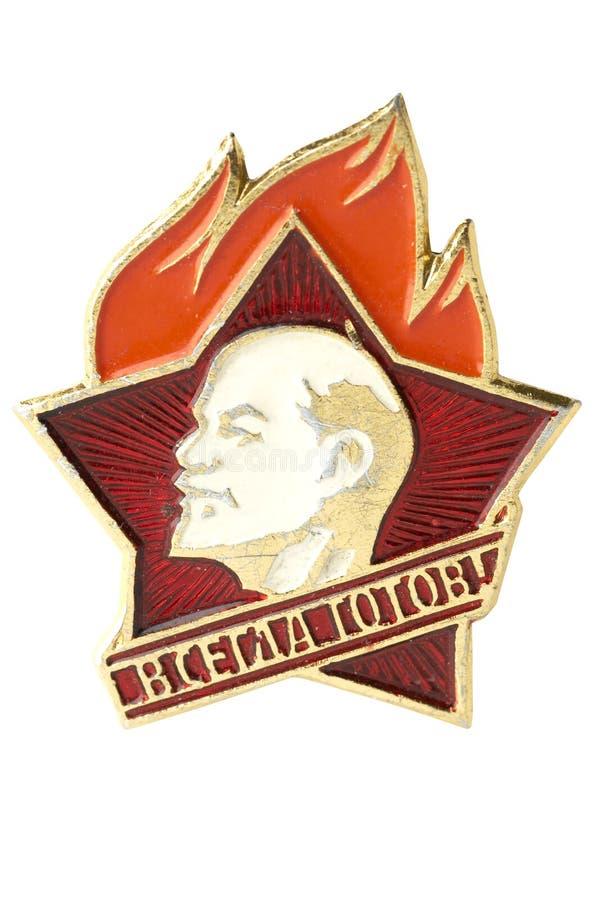 Vieil insigne pionnier en URSS images stock