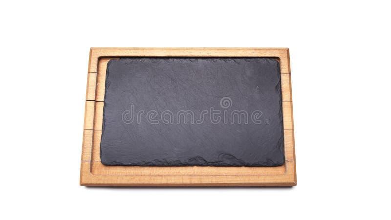 Vieil isolat en bois rectangulaire vide propre souillé de planche à découper photos stock