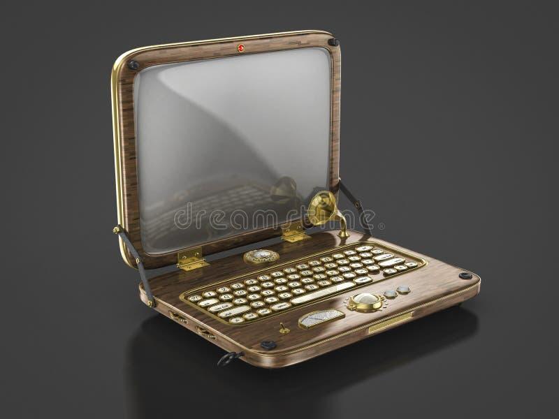 Vieil ordinateur portable de punk de vapeur de vintage illustration de vecteur