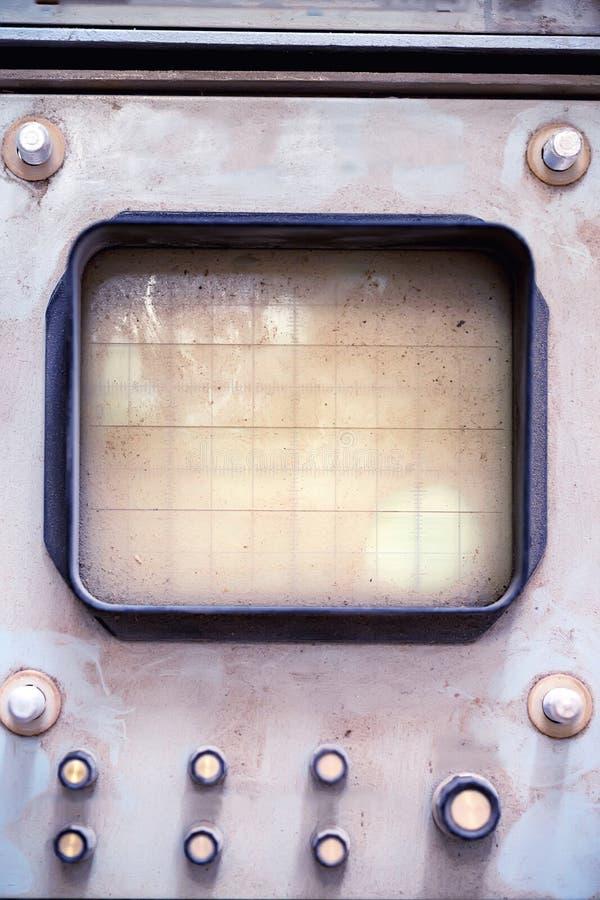 Vieil oscilloscope avec l'écran vide images libres de droits