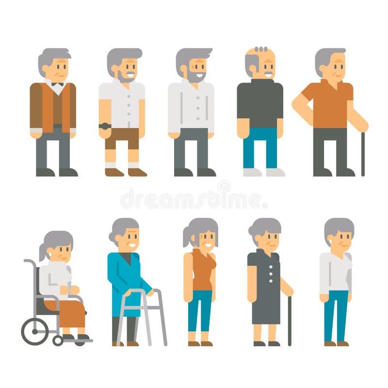 Vieillards de conception plate illustration libre de droits