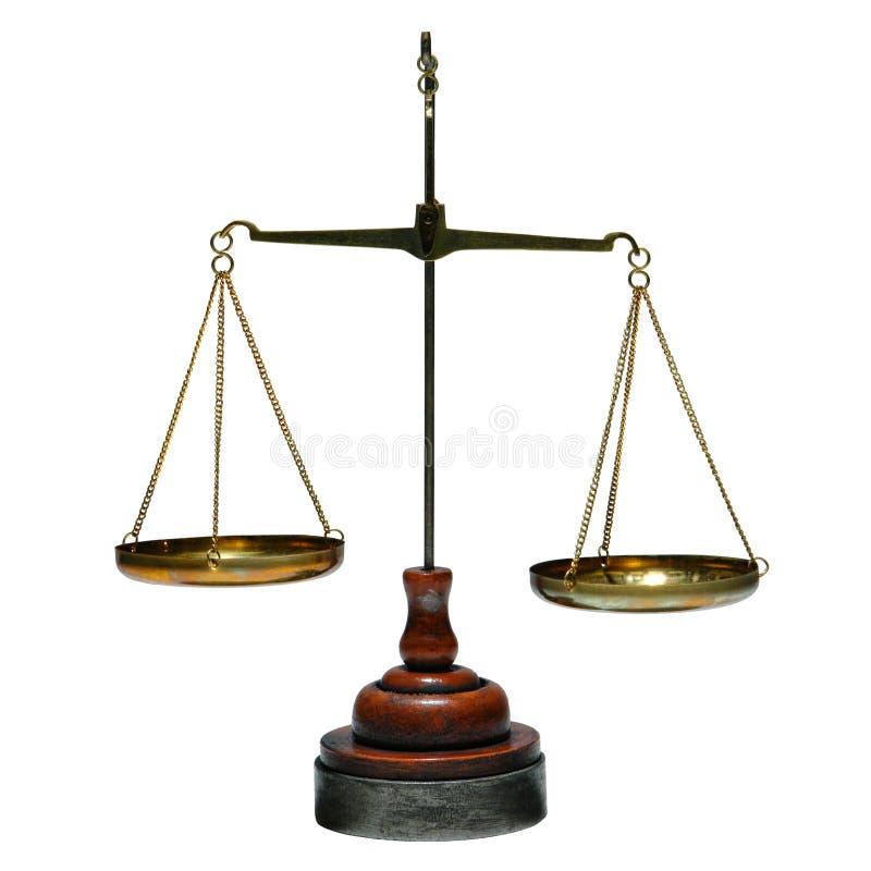 Vieille échelle en laiton antique d'équilibre d'isolement sur le blanc images libres de droits