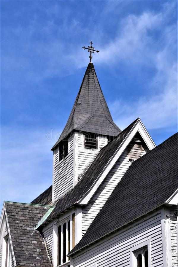 Vieille église catholique et clocher dans Groton, le Massachusetts, Etats-Unis photo stock
