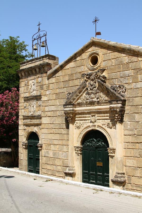 Vieille église de notre Madame des anges sur l'île de Zakynthos image libre de droits