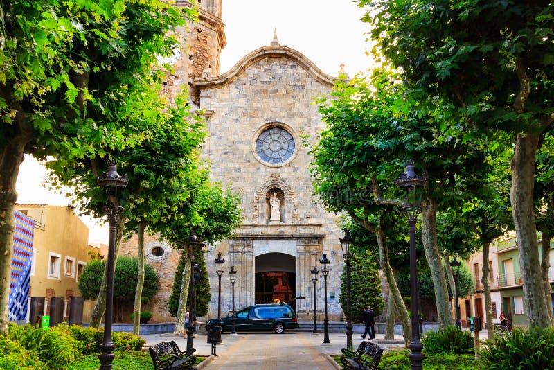 Vieille église médiévale en pierre de St Nicolau, on le connaît comme cathédrale de la côte dans Malgrat De mars, Catalogne, Barc image libre de droits
