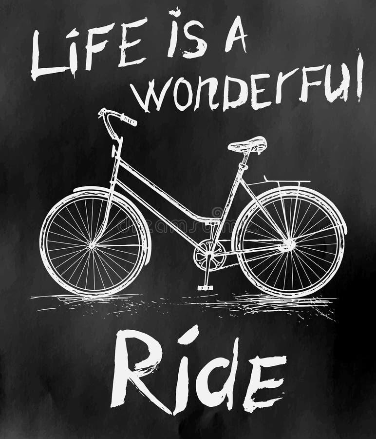 Vieille affiche de vintage avec le vélo pour la rétro conception illustration de vecteur