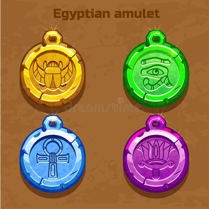Vieille amulette égyptienne colorée illustration libre de droits