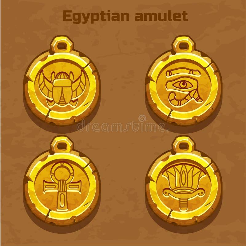 Vieille amulette égyptienne d'or illustration libre de droits