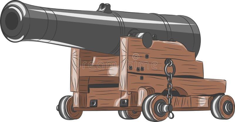 Vieille arme à feu de bateau de vecteur illustration libre de droits