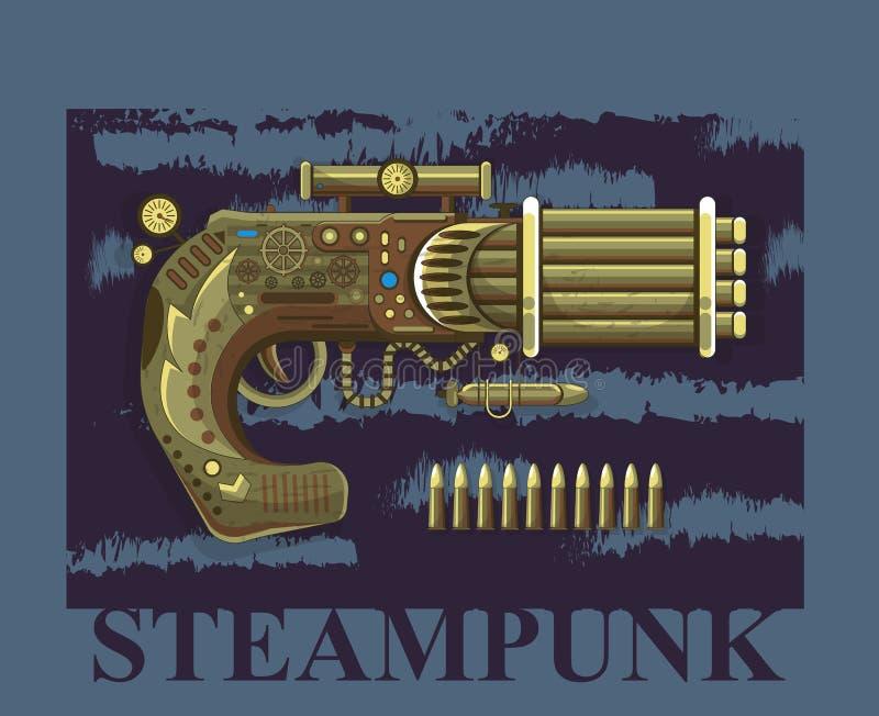 Vieille arme ? feu de conception de l'avant-projet de vecteur de revolver de Steampunk illustration de vecteur
