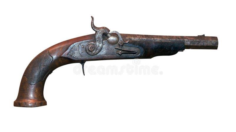 Vieille arme ? feu de firelock de vintage d'isolement sur le fond blanc mousquet en m?tal photos stock