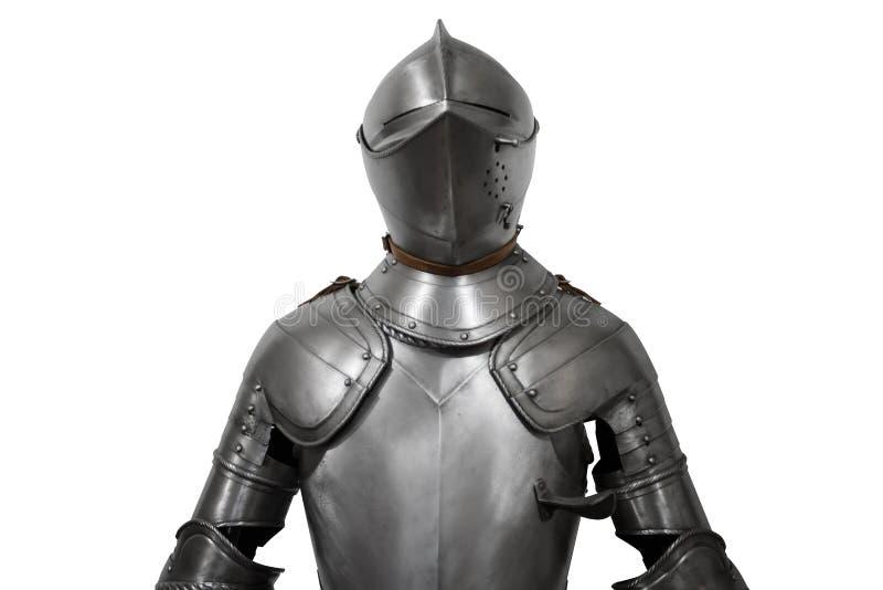 Vieille armure de chevalier en métal sur le fond blanc photo stock