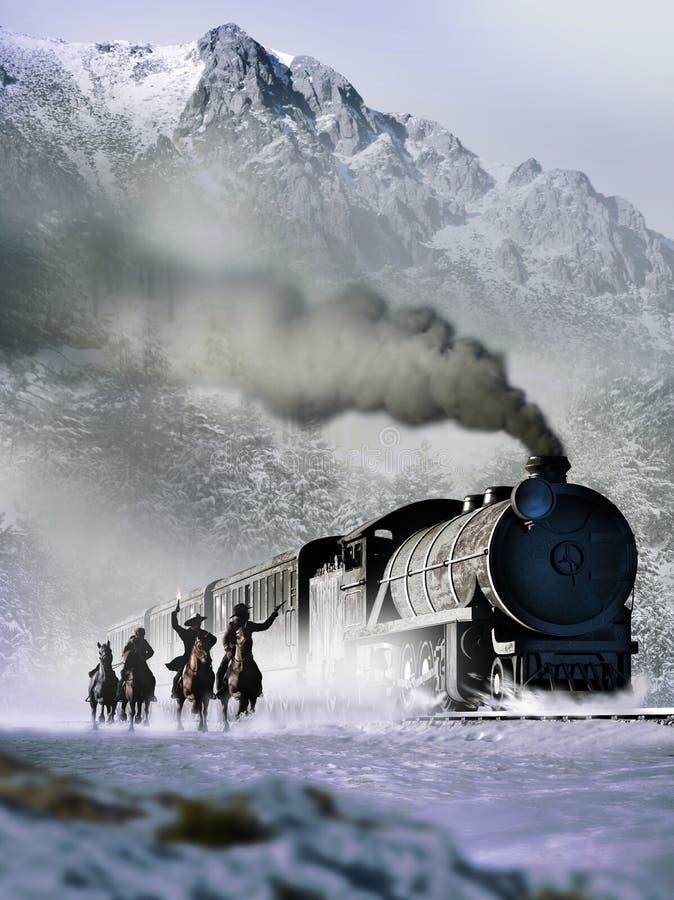 Vieille attaque occidentale de train illustration de vecteur
