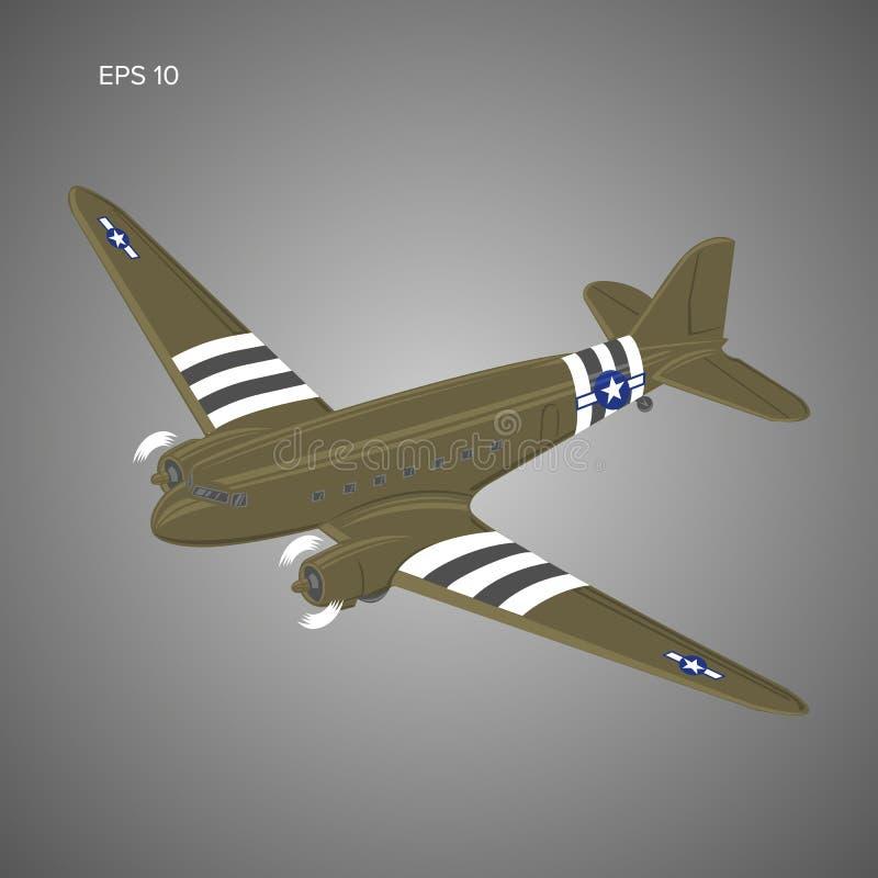 Vieille avion de ligne de moteur à piston de vintage Rétro illustration légendaire de vecteur d'avions Les militaires transporten illustration libre de droits