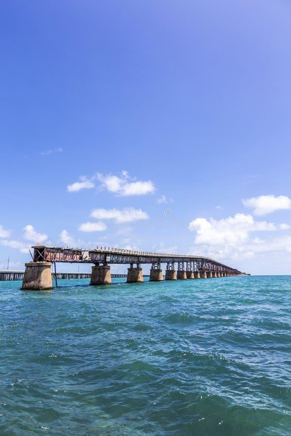 Vieille Bahia Honda Rail Bridge, Bahia Bay State Park, clés de la Floride photographie stock