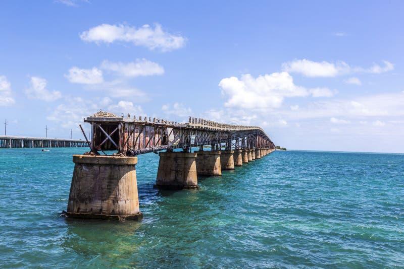 Vieille Bahia Honda Rail Bridge, Bahia Bay State Park, clés de la Floride photographie stock libre de droits
