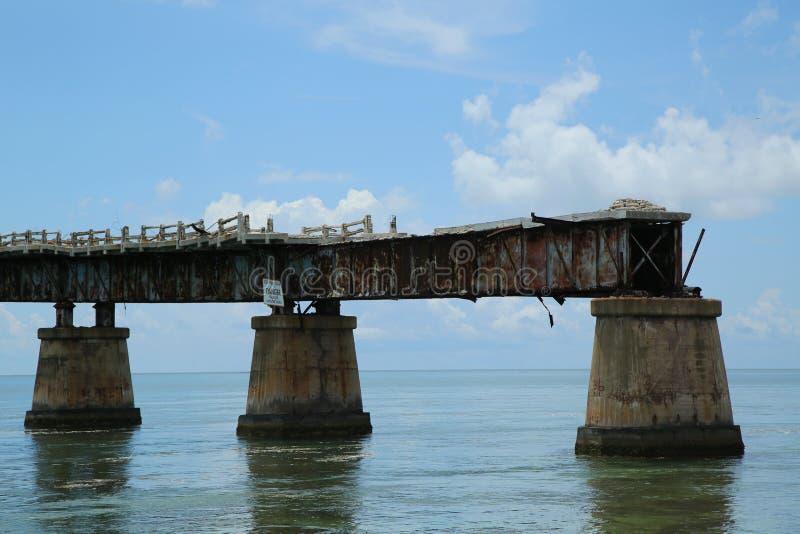 Vieille Bahia Honda Rail Bridge chez Bahia Bay State Park, clés de la Floride image libre de droits