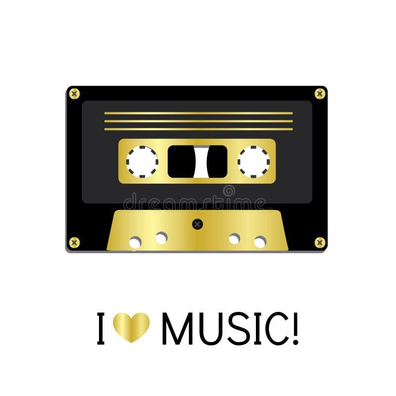 Vieille bande de cassette sonore peinte dans un style plat Illustration de vecteur Rétro et vintage illustration libre de droits