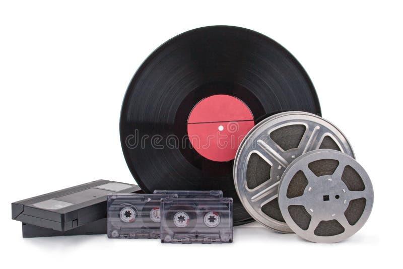 Vieille bande de film, film photographique, disque photos libres de droits