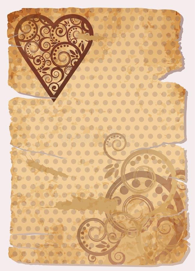 Vieille bannière de papier d'amour de vintage illustration libre de droits