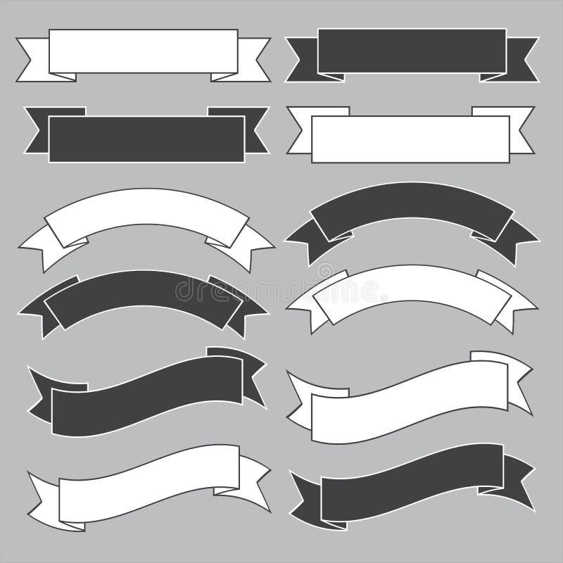 Vieille bannière de ruban, noire et blanche. illustration stock