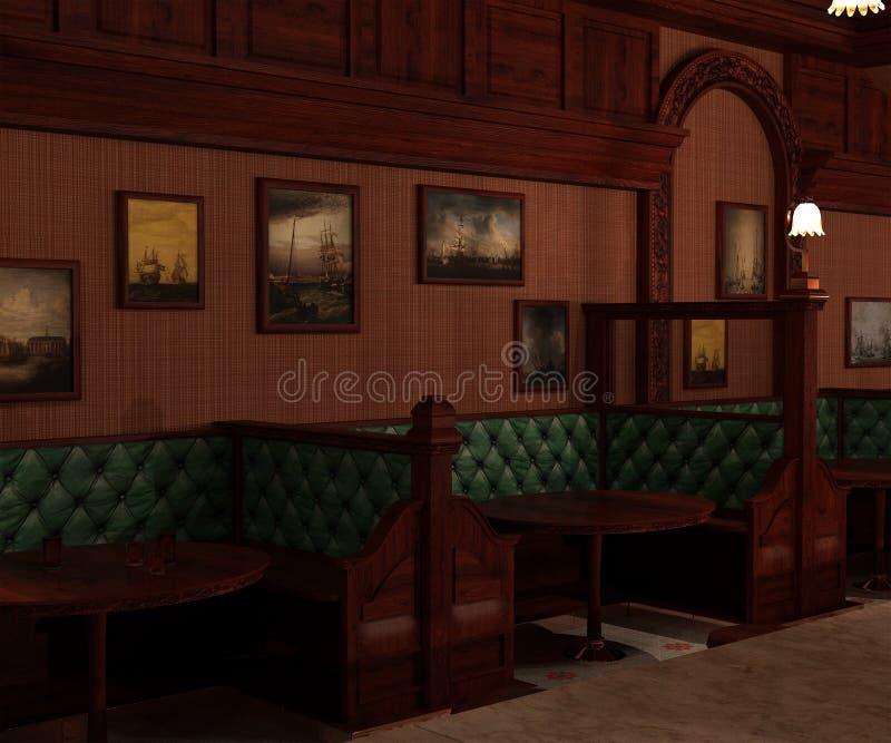 Vieille barre en bois de style intérieur et secteurs capitonnés privés illustration libre de droits