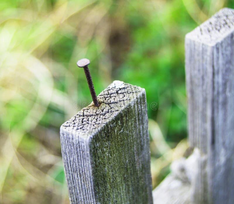 Vieille barri?re en bois et un clou rouill? collant  photo stock