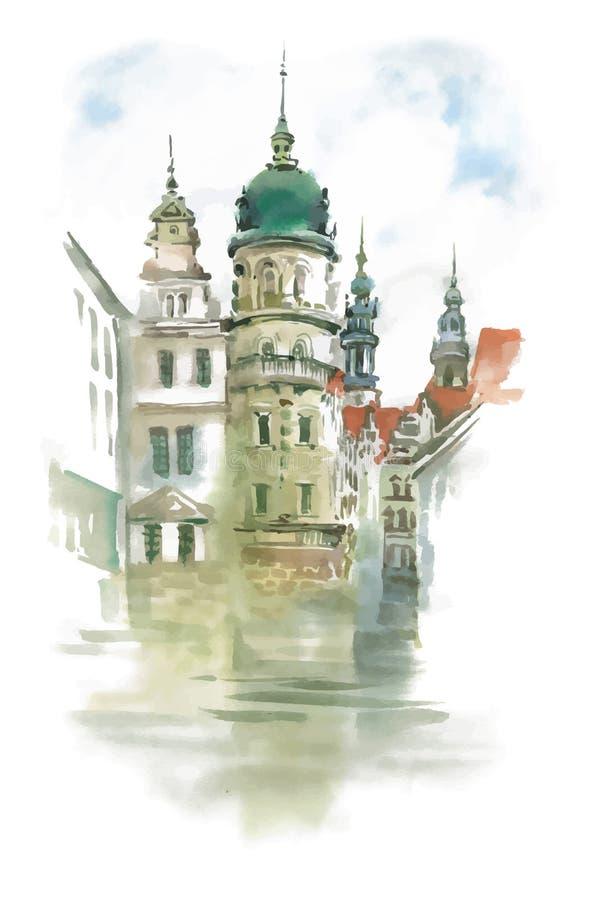 Vieille belle église sur la rue, illustration tirée par la main illustration de vecteur